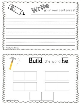 NO PREP Interactive Sight Word Practice Book - HE