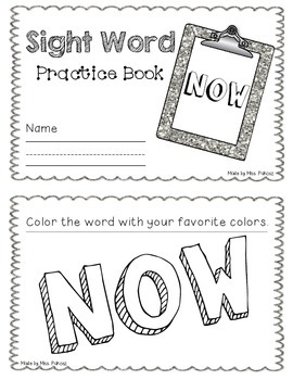 NO PREP Interactive Sight Word Practice Book - NOW