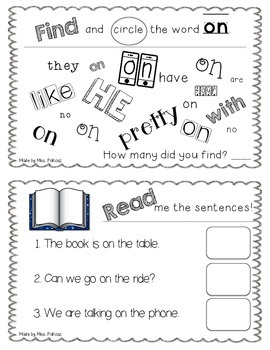 NO PREP Interactive Sight Word Practice Book - ON