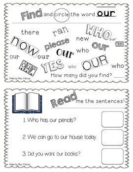NO PREP Interactive Sight Word Practice Book - OUR