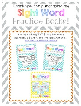 NO PREP Interactive Sight Word Practice Book - OUT