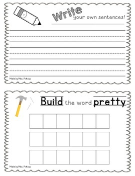 NO PREP Interactive Sight Word Practice Book - PRETTY
