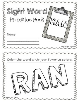 NO PREP Interactive Sight Word Practice Book - RAN