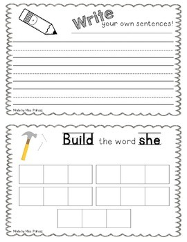 NO PREP Interactive Sight Word Practice Book - SHE