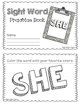 NO PREP Interactive Sight Word Practice Book - SHE