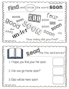 NO PREP Interactive Sight Word Practice Book - SOON by Miss Pakosz