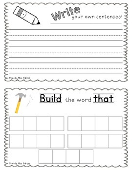 NO PREP Interactive Sight Word Practice Book - THAT