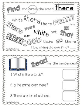 NO PREP Interactive Sight Word Practice Book - THERE