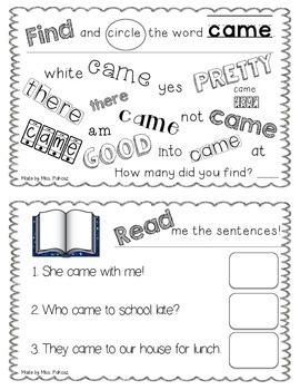 NO PREP Interactive Sight Word Practice Book - CAME