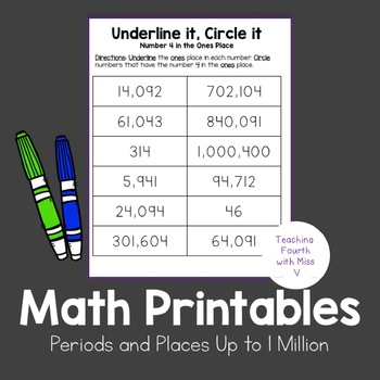 Periods & Places Up to 1 Million - Math Printables