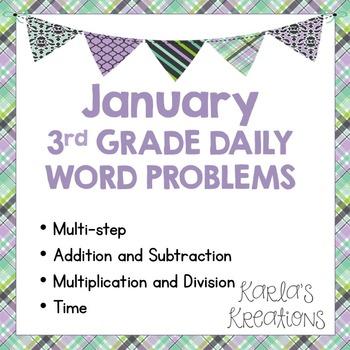 NO PREP JANUARY 3rd Grade Daily Word Problems