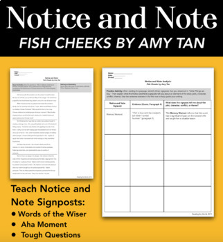 Notice and Note Analysis: Fish Cheeks by Amy Tan by ...