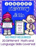 NO PREP January Learning Skills for PreK and Kindergarten