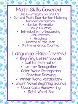 NO PREP January Learning Skills for PreK and Kindergarten