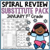 Sub Plans Packet NO PREP Review Worksheets for January 1st Grade