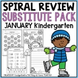 Sub Plans NO PREP Review Worksheets for January Kindergarten