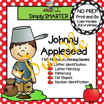 NO PREP Johnny Appleseed Themed Math and Literacy Games Bundle