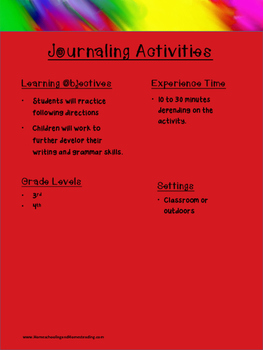 NO PREP! Journaling Activities: Language Arts focus
