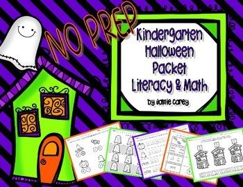NO PREP Kindergarten Halloween Packet:  Literacy & Math