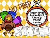 NO PREP Kindergarten Thanksgiving Activities :  Literacy