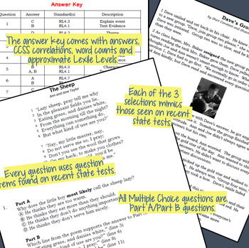 Reading Part A Part B Test, Task Cards LAT 3- Fiction and Poetry