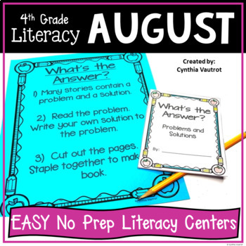 NO PREP! LITERACY Centers for August {4th Grade} Back to School