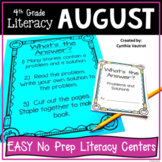 4th Grade Literacy Centers for August No Prep (Back to School)
