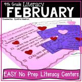 NO PREP LITERACY Centers for February {4th Grade}