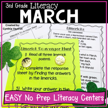 3rd Grade Literacy Centers for March No Prep