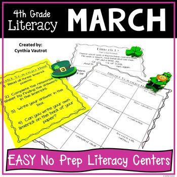 4th Grade Literacy Centers for March No Prep