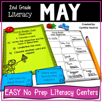 2nd Grade Literacy Centers for May & June No Prep