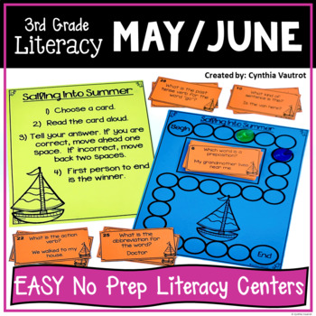 3rd Grade Literacy Centers for May & June No Prep