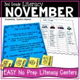 NO PREP! LITERACY Centers for November {3rd Grade}