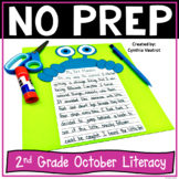 2nd Grade Literacy Centers for October No Prep