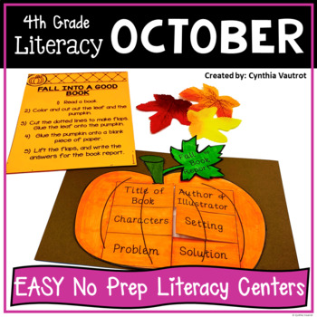 4th Grade Literacy Centers for October No Prep