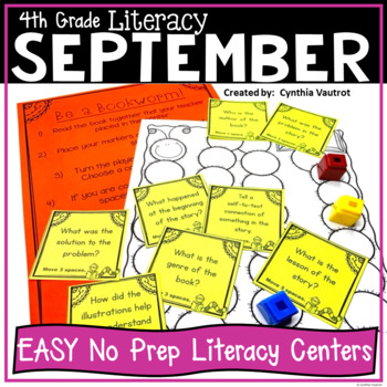NO PREP! LITERACY Centers for September {4th Grade}