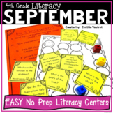 4th Grade Literacy Centers for September No Prep