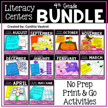 NO PREP Literacy Centers for All Year  {4th Grade} (GROWING BUNDLE)