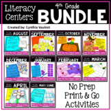 NO PREP Literacy Centers for All Year  {4th Grade} (GROWIN