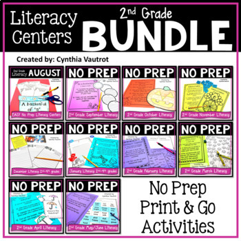 2nd Grade Literacy Centers NO PREP for All Year Bundle