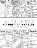 NO PREP Literacy Printables - July