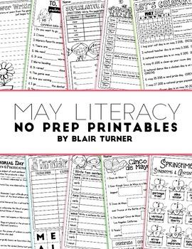 NO PREP Literacy Printables - MAY