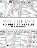NO PREP Literacy Printables - MAY