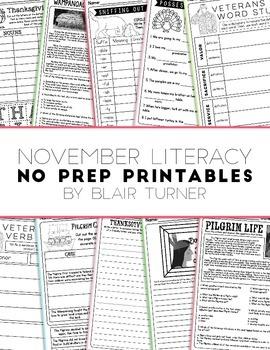 NO PREP Literacy Printables - November