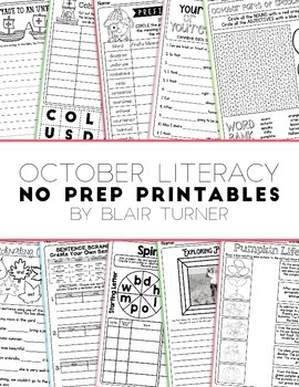 NO PREP Literacy Printables - October
