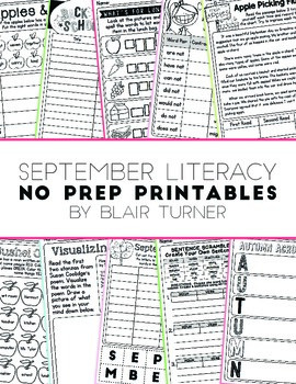 NO PREP Literacy Printables - September