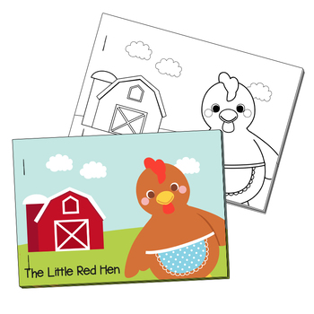 NO PREP! Little Red Hen Fairy Tales Story and Coloring Book