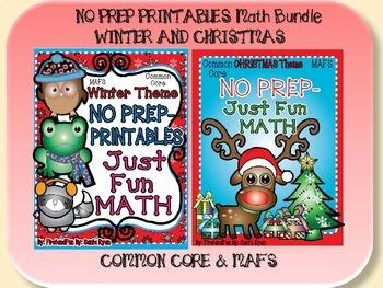 NO PREP MATH BUNDLE WINTER AND CHRISTMAS COMMON CORE MAFS