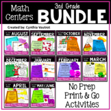 3rd Grade MATH Centers No Prep for All Year Bundle