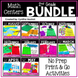 2nd Grade MATH Centers No Prep All Year Bundle